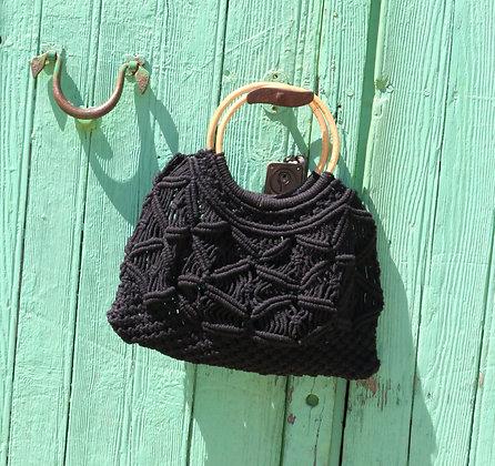 Black Macramé Boho Bag