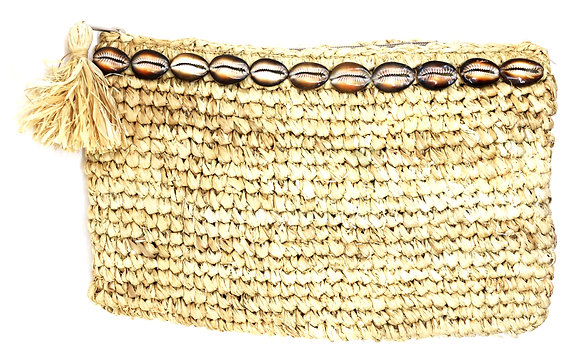 Moana Natural Dark Sand Raffia Clutch