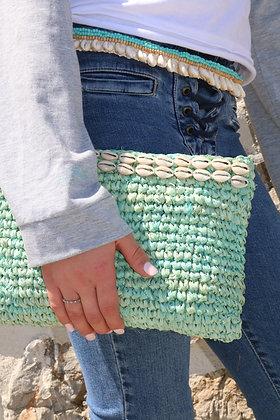 Raffia Turquoise Beach Gaab Clutch