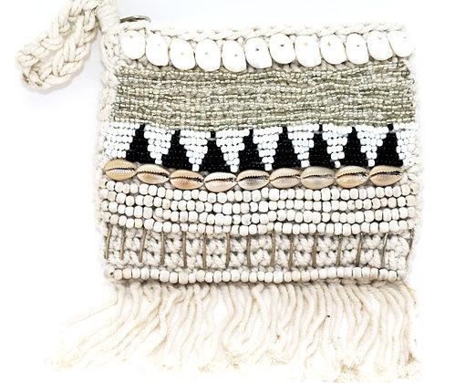 Boho Macrame Shell & Beads Purse