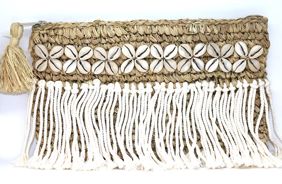 Dominique Natural Raffia & Macrame Gaab Clutch