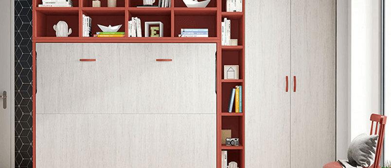 Lit escamotable NEO horizontal avec bibliothèque intérieure couchage 140*190 cm