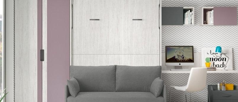 Lit escamotable NEO vertical avec canapé couchage 140*190 cm