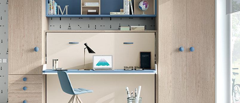 Lit escamotable NEO horizontal avec bureau couchage 140*190 cm