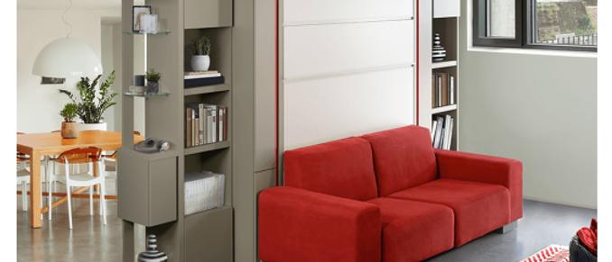 Lit escamotable KETTY vertical avec canapé couchage 140*200 cm