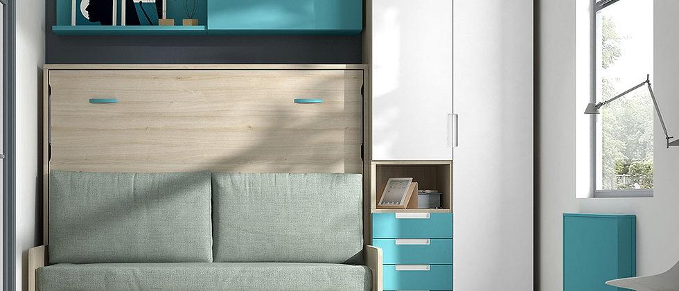 Lit escamotable NEO horizontal avec canapé couchage 140*190 cm
