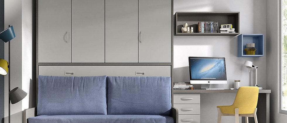 Lit escamotable NEO horizontal avec canapé et sur-meuble couchage 90*190 cm
