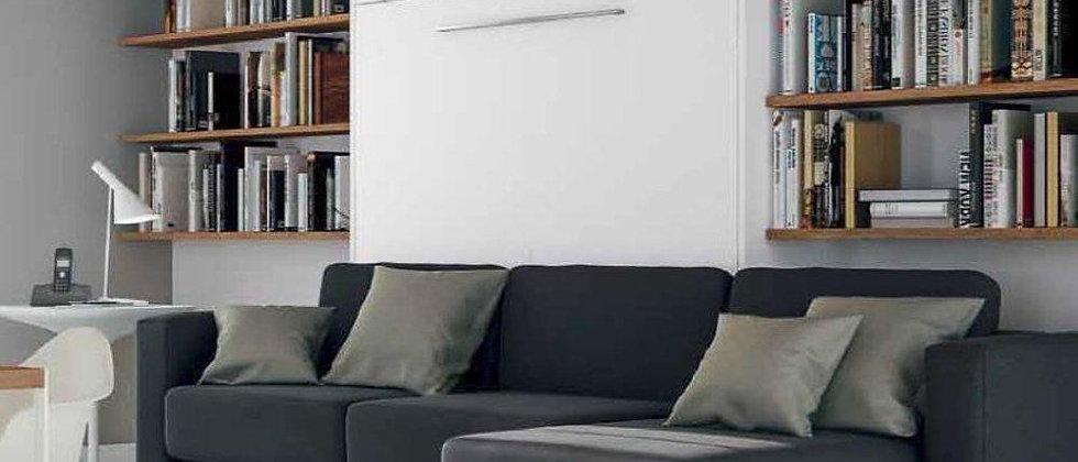 Lit escamotable NOVA vertical avec canapé méridienne couchage 140*200 cm