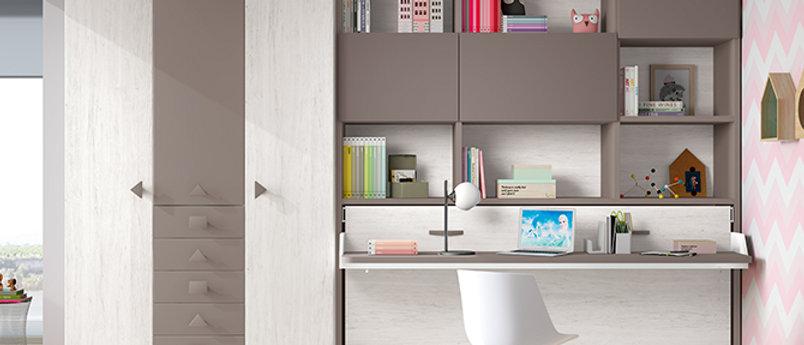 Lit escamotable NEO horizontal avec bureau et sur-meuble couchage 90*190 cm