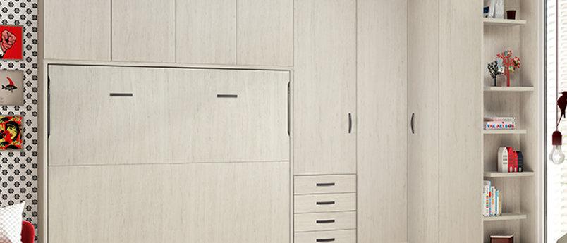 Lit escamotable NEO horizontal avec bibliothèque intérieure couchage 160*200 cm