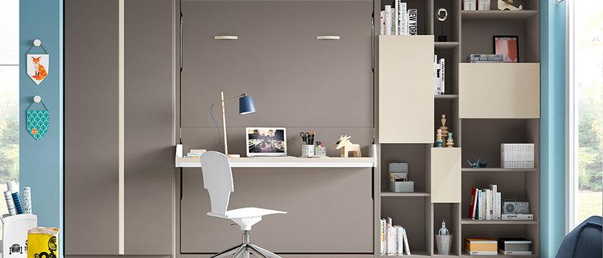 Lit escamotable NEO vertical avec bureau couchage 140*190 cm