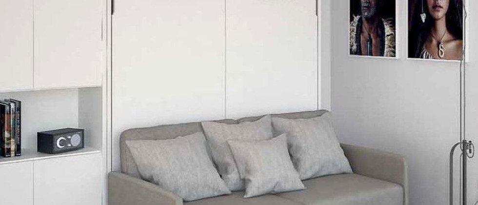 Lit escamotable BECA vertical avec canapé couchage 140*200 cm
