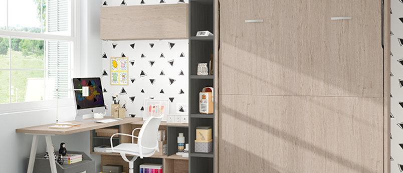 Lit escamotable NEO sur-meuble et bibliothèque intérieure couchage 140*190 cm