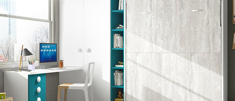 Lit escamotable NEO vertical avec bibliothèque intérieure couchage 140*190 cm