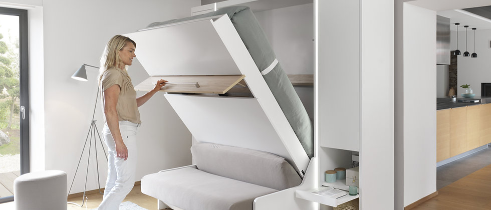 Lit escamotable MAGIK vertical avec canapé couchage 140*190 cm