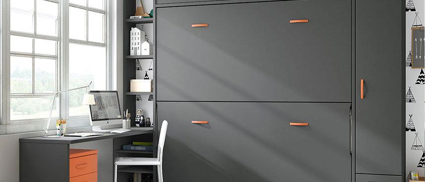 Lits escamotables NEO superposés avec surmeuble et étagères intérieures 90*190cm