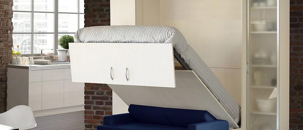Lit escamotable MELA vertical avec canapé couchage 140*200 cm