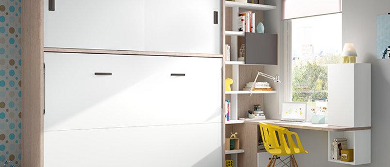 Lit escamotable NEO horizontal avec sur-meuble couchage 140*190 cm