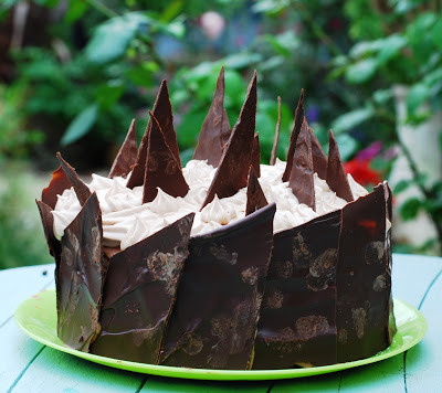chocolate cream cake, practically pagan cooking, rachel patterson