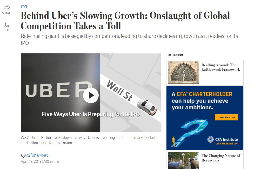 Competition Slows Uber