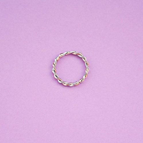 Витое кольцо (золото-серебро)