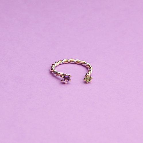 Витое кольцо (аметист-хризолит)