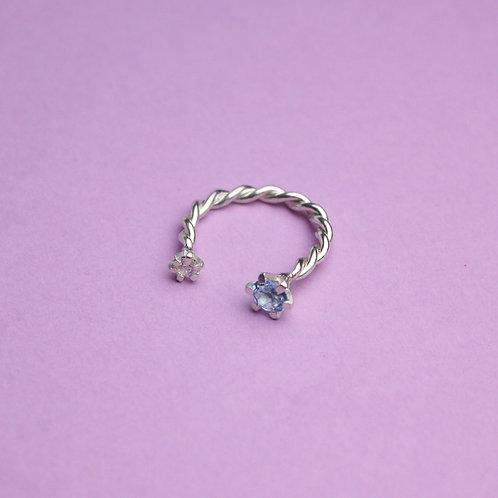 Витое кольцо (топаз, фианит)