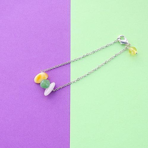 Браслет-леденец (три цвета + янтарь)