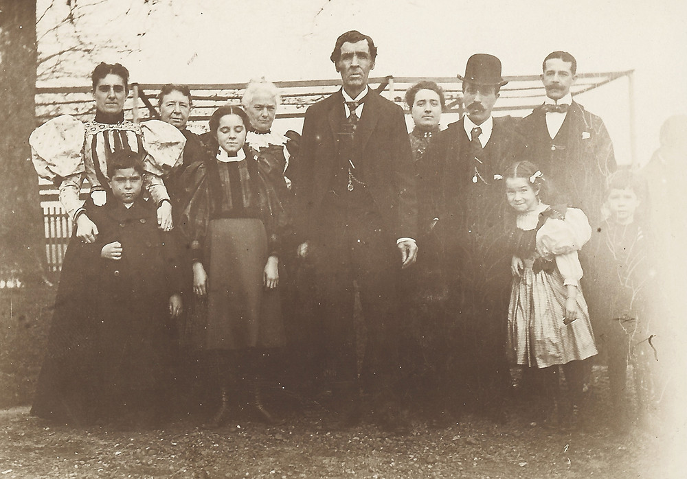 Peter Fisher surrounded by his family