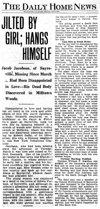 Sayreville Resident Commits Suicide, 1914