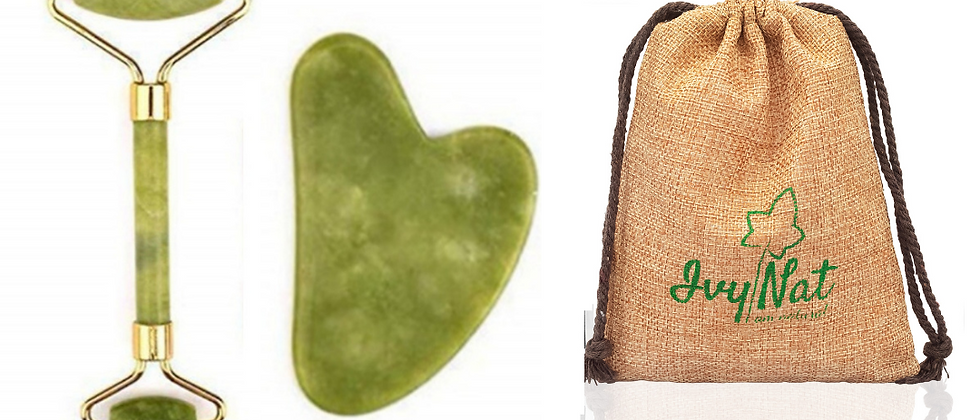 Natural Jade Facial Roller Massager & Gua Sha Tool Set
