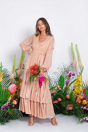 Sundress Estelle pink gold long dress