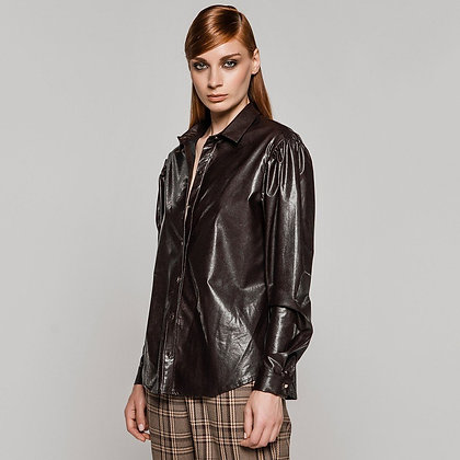 ACCESS Eco-leather shirt with pleats on shoulders