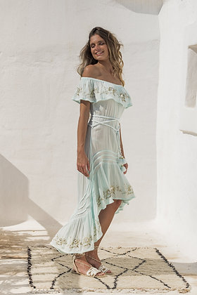 Piti Cuiti Egypt mint dress with embroidered details