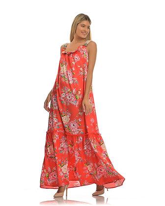 Avant Garde floral long red dress S185139
