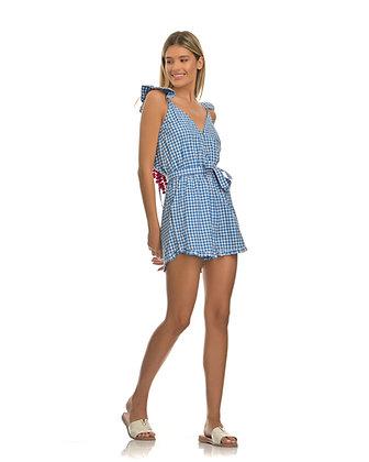 Sundress jumpsuit blue gingham