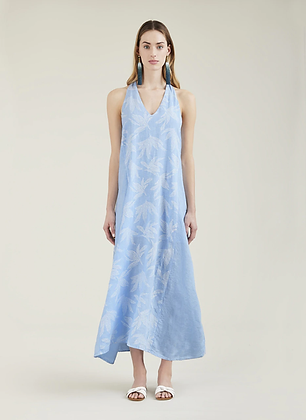 120% LINO V-neck long dress with glitter effect 918H02