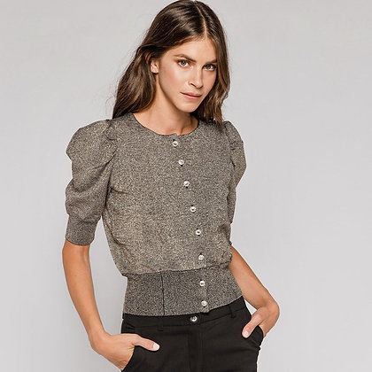 ACCESS Knitted lurex jacket with puff sleeves