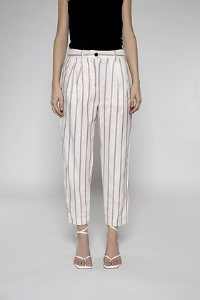 High Waist Pinstripe Trousers With Dart