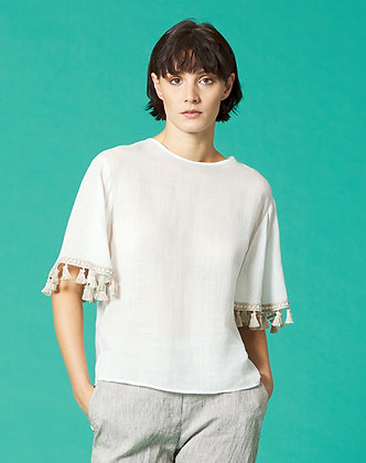 BLOUSE WITH TASSELS