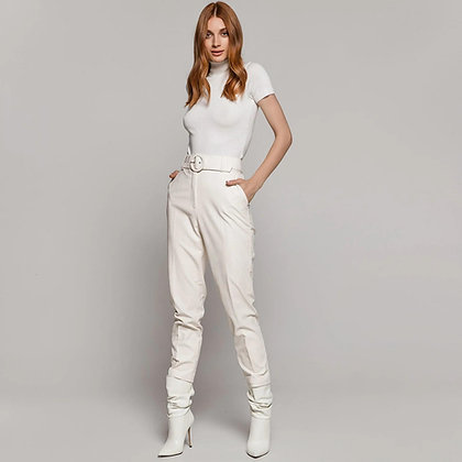 Off White Vegan Leather Trousers