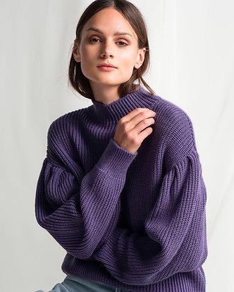 Purple Balloon sleeve knit