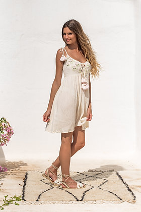 Piti Cuiti Flowers beige dress with embroidery
