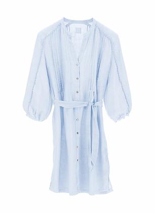 120% LINO Linen short dress in light blue colour 31700