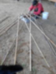assemblage du bambou pour la flexyourte