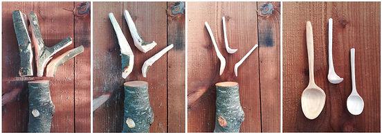 cuillères branche traval du bois vert