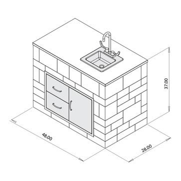 Prep Center Cabinet w/sink
