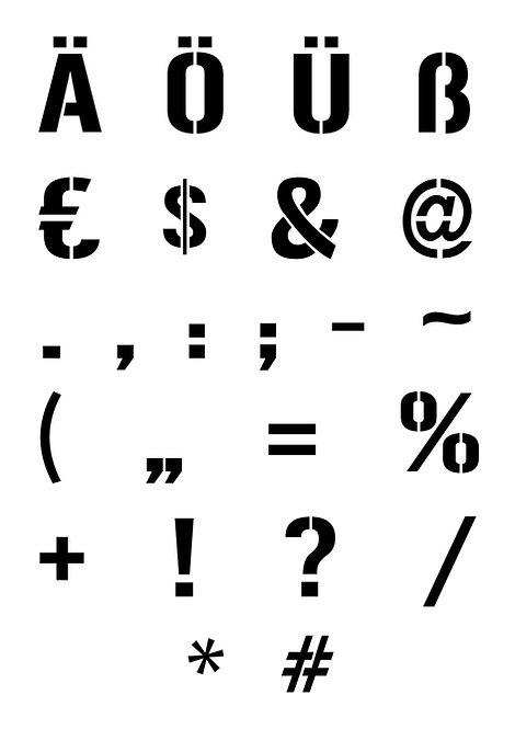 Stencilschablone Sonderzeichen