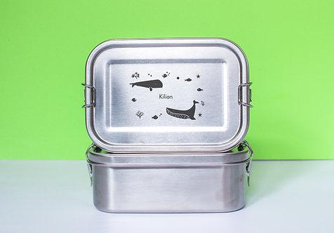 Edelstahl Brotdose, auslaufsicher - personalisiert