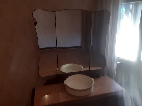 Waschtisch mit Marmorplatte,Spiegel und Schüssel